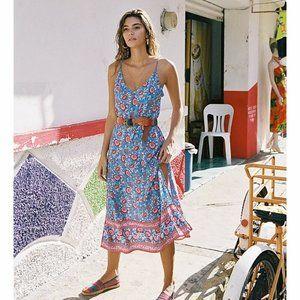 ARNHEM Primrose Blue Slip Midi Sun Dress RRP$189